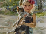 Little Girl with Calico Cat F