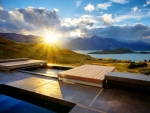 hot tub at stunning sunrise