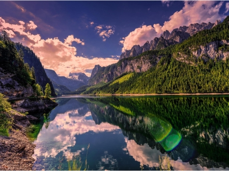 Reflecting Mountains - lake, mountains, clouds, landscape, forest, nature, reflection, trees