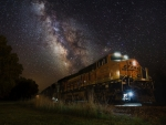Milky Way over the train