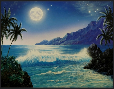 MAGIC MOMENT - MOUNTAINS, STARS, NIGHT, SKY, MOON, WAVES, OCEAN