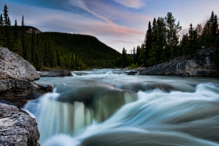 Elbow Falls, Kananaskis, Alberta - clouds, canada, landscape, tree, river