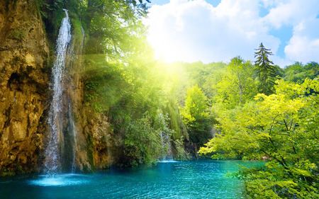 Bright Waterfall Waterfalls Nature Background Wallpapers on