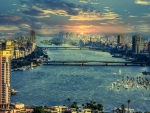 nile river panorama of cairo hdr