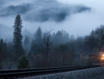 train in a foggy valley