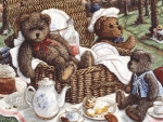 Teddies on picnic