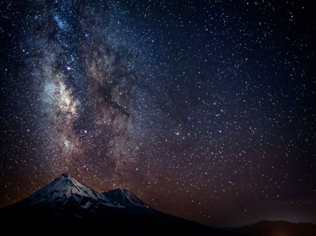 Milky way over mountain