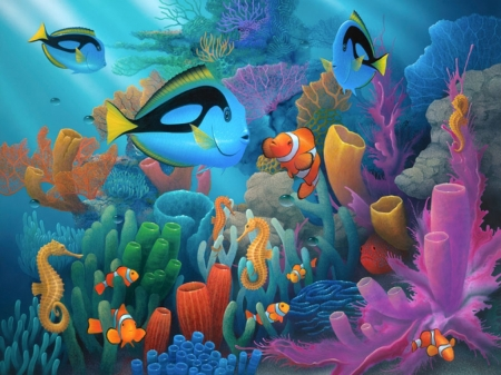 Under The Sea - colorful, reef, fish, Coral