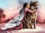 Girl in Pink With Wolf