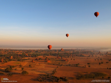 Hot Air Balloons - National Geographic, Hot Air Balloons, transportation, landscape, nature