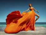 Woman in Orange Gown