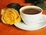 coffee and yellow rose