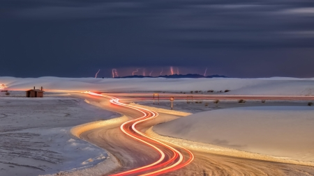 lightning on a winter night - winter, road, night, lightning, lights