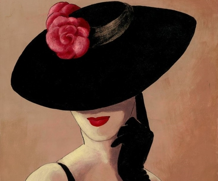 Chic Lady - rose, cool, paintings, ladys, art, hats, beauty, chic