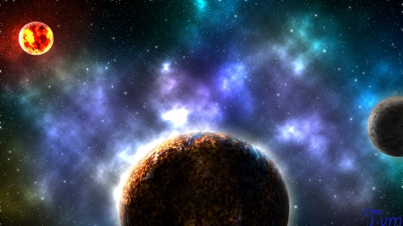 Amazing HD Planet system By TVM - moon, galaxy, stars, hd, planet