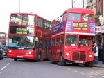 New and old style London buses
