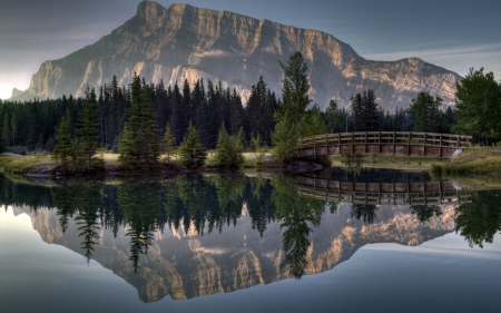 Mountain Landscape - landscape, forest, river, mountain, nature, reflection, bridge, trees