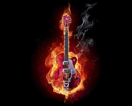 Burning Guitar - guitar, fire