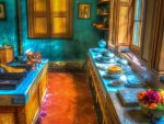 lovely old kitchen in teal hdr