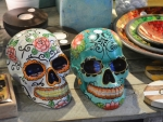 Skulls brightly painted Eat Street Brisbane