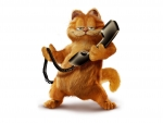 garfield with a phone