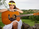 Guitar Girl With Floral Headband
