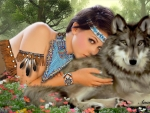 Native Woman and Her Wolf