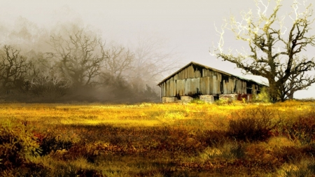 Old Barn and Tree - field, painting, vintage, trees, Firefox Persona theme, grass, barn, autumn, fall