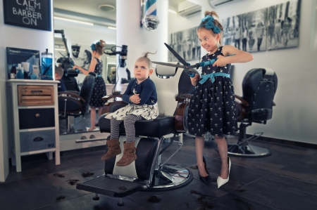 Last hair standing - couple, creative, sister, john wilhelm, black, situation, blue, copil, child, girl, funny, children, last hair standing