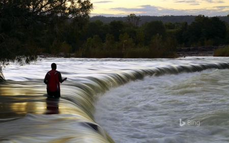 Man fishes in the Ord River at Kununurra Western Australia - River, The, Fishing, In, Ord, Man