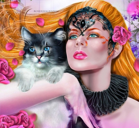 Lespetalesdechat - pink, fantasy, lady, cat