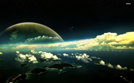 horizen - space, clouds, country, planet, ocean