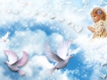 Baby angel and doves