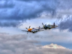 classic wwII mustang and spitfire fighter planes hdr