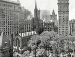 vintage black and white panorama of trinity church in nyc
