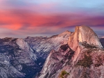 The Pink Falls on Half Dome, Yosemite