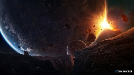 Sudden Encounter - space, asteroids, render, 3d, planets, moons, cg