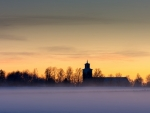 church silhouette on a winter morning