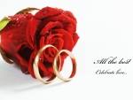 rings and red rose