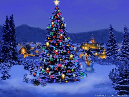 3D Christmas Tree - decorated, evergreens, tree lights, tree, xmas, christmas, night, star, snow, 3d, mountains, holiday, christmas tree