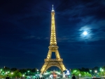 Eiffel Tower under the moonlight