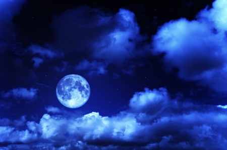 Moonlit Sky - moon, clouds, blue, full moon, night, stars, sky, evening