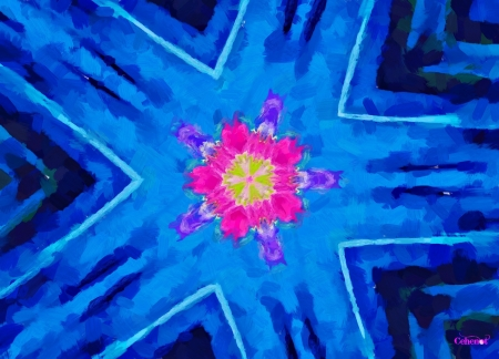 Abstract flower - pictura, pink, abstract, painting, blue, art, yellow, flower, texture, by cehenot
