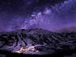 winter ski resort under the stars
