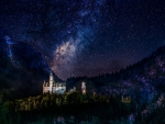 neuschwanstein castle in germany under the stars