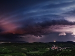 lightning storm over countryside