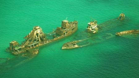 Ship Wreck - water, wreck, boat, ship, marine, ocean