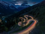 mountain road in switzerland in slow exposure