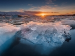 arctic ice at sunrise