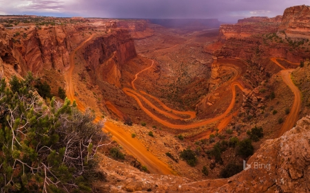 White Rim Road seen from Island in the Sky in Canyonlands National Park Utah - From, Road, Rim, Island, White, Seen